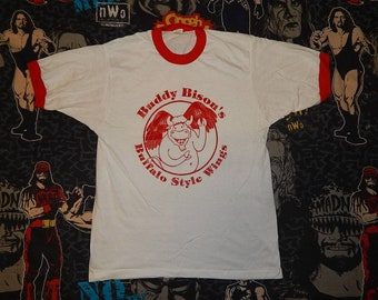 Buddy Bisons Buffalo Wings 1980s RInger Shirt - Screen Stars sz L - vintage 80s paperthin soft emo tee