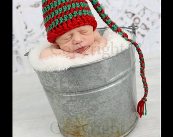 Newborn Christmas Hat, Baby Christmas Elf Hat, Newborn Stocking Hat, Christmas Hat,  Newborn Photo Prop, Red Green Hat, Stripes, Holidays