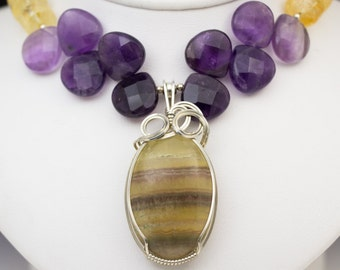 Fluorite, Citrine, & Amethyst Sterling Silver Wire Wrapped Pendant Necklace