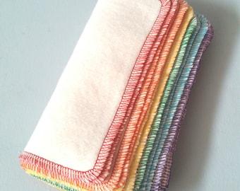 BULK. 120 reusable hemp cloth wipes. organic family/baby washcloths Rainbow. Hemp/ organic cotton fleece.