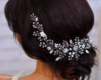 Wedding headpiece for wedding hairpiece for veil Wedding hair piece Bridal pearl halo White hair piece Bridal hairpiece Bridal headpiece 12