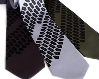 "Tire Tracks Necktie. ""Tread Lightly"" tie. Tyre Treads print. Silkscreened microfiber necktie. Choose color & standard or narrow size."