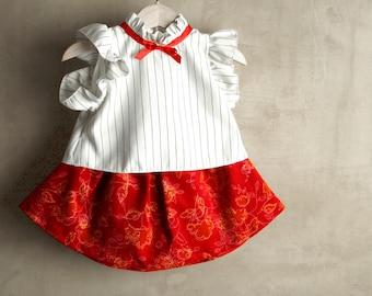 Dindle baby girl, Elegant flower girl dress, red velvet skirt, white blouse, headband, unique girl outfit, precious gift handmade in italy