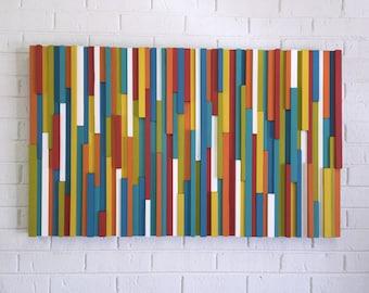 Modern Wood Wall Art - Abstract Wood Wall Art - Wood Wall Art - Vibrant Modern Abstract Wood Wall Art