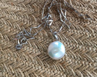 Natural coin pearl with sterling silver necklace