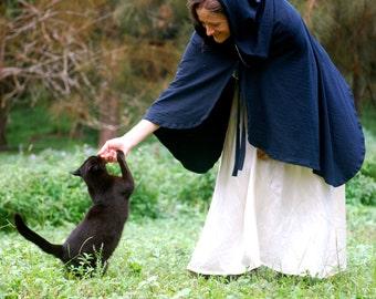 Black Hooded Cape - Cloak - Halloween Costume - Vampire - Organic Cotton Hemp - Eco Friendly