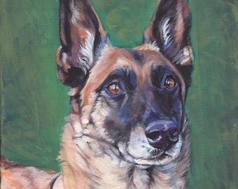 "Belgian MALINOIS dog art PORTRAIT canvas PRINT of LAShepard painting 8x8"""