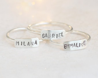 personalized ring. silver name ring. bar name ring. mother's ring. inspirational ring. initial ring. monogram ring. best friends ring. gift.