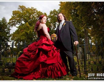 Red wedding gown, bustle gown in red iridescent taffeta with corset custom made
