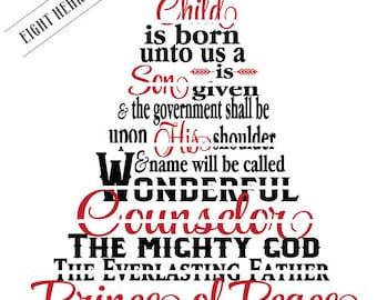 SVG A Child is Born Unto Us - For this Child Christmas Cutable Christian Faith  9:6