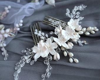 Bridal hair accessories, Flower hair comb, Bridal headpiece, Bridal hair comb, Wedding hair comb, Bridal hair piece, Crystal Headpiece