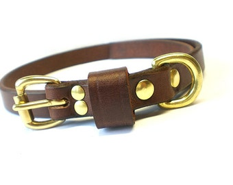 "5/8"" Rich Brown Chahin English Bridle Leather Plain Dog Collar with Solid Brass Hardware and Leather Keeper"