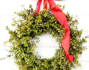 Christmas Wreath-Winter Wreath-Farmhouse Wreath-EUCALYPTUS Wreath-Summer Wreath-Weatherproof Wreath-Housewarming Gift-SCENTED Wreath-Gifts