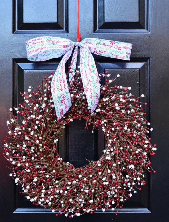 Christmas Wreath- Red Green Cream Door Wreath- Winter Wreath- Christmas Decor- Winter Decor- Christmas Decoration- Berry Wreaths