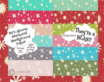 Atomic Retro Mid-Century Download Customize Color, Digital Paper Background 12 +1 to add your own color