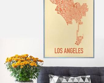 Los Angeles Neighborhood Map Poster or Print, Original Artist of Type City Neighborhood Map Designs, Los Angeles Typography Map Art