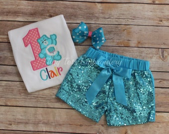 Grumpy Bear Birthday Outfit ~ Care Bear Outfit ~ Includes Top, Sequin Shorts and Hairbow ~ Customize in any colors!