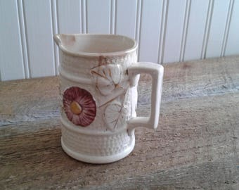 Vintage White Creamer, Vintage Creamer, Floral, Small Pitcher, French Farmhouse Style, Cottage, Shabby, Country Creamer