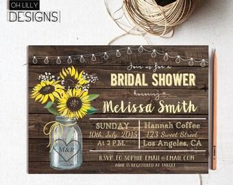 Sunflower Bridal Shower Invitation, Mason Jar Bridal Shower Invite, Rustic Bridal Shower, Country Bridal Shower Invitation, Printable