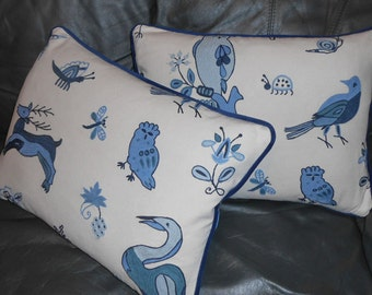 Brunschwig & Fils Throw pillows Animal Crewel China Blue on Ivory custom New TWO