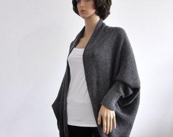 Cardigan gray Coat women grey Batwing Wool Jacket  Knit loose clothes wrap Boho Cocoon coat Transition Clothing