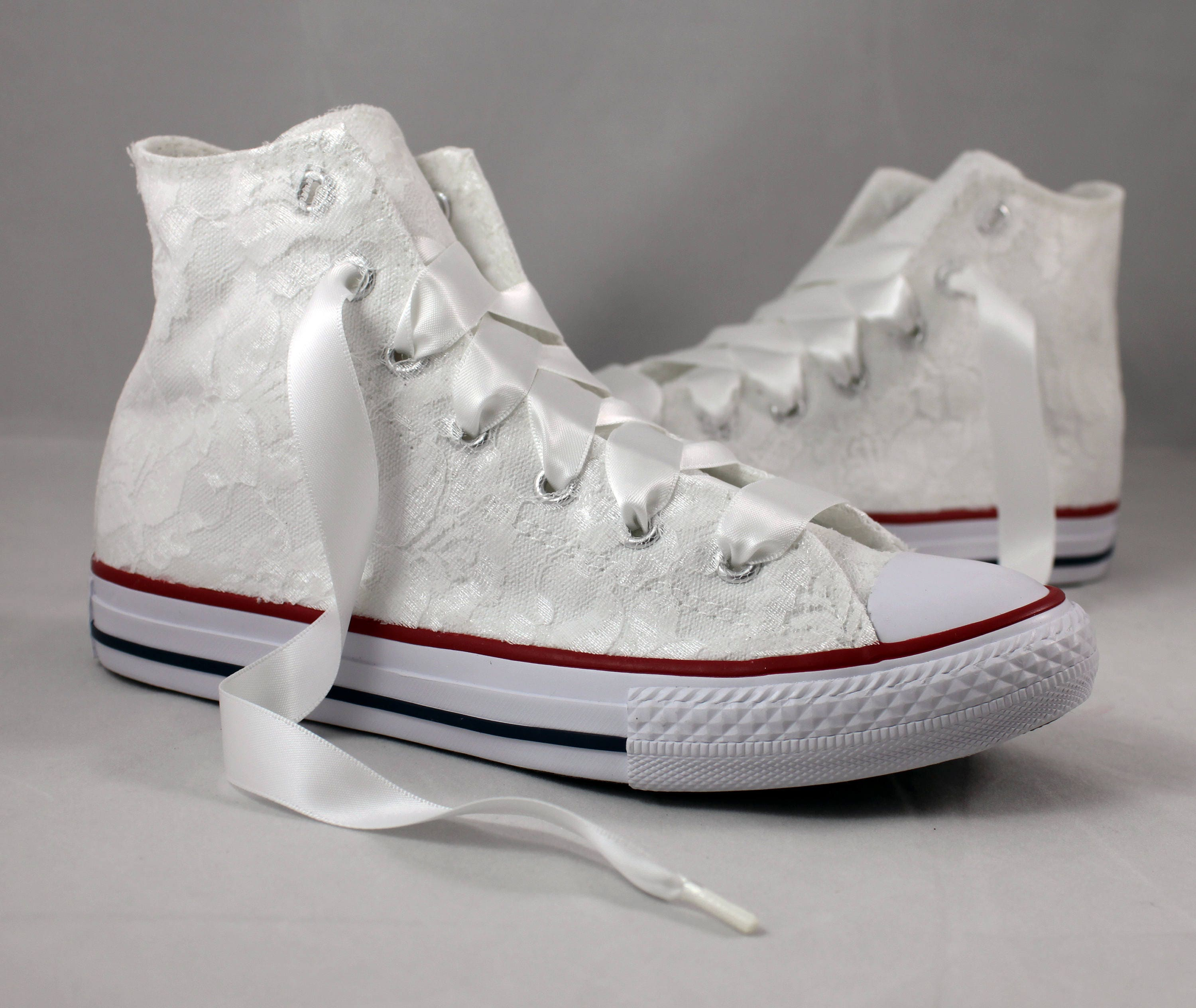 wedding tennis shoes lace high top converses bridal converses wedding 1194