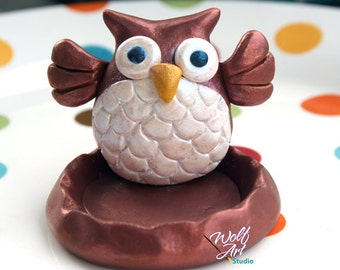 Polymer Clay Owl Ring Holder