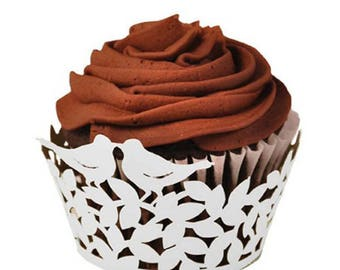 50 pieces Love Birds Laser Cut Cupcake Paper Wrappers  - Perfect Pair Muffin Cases Baking Cup Case Birthday Wedding Party Decor -