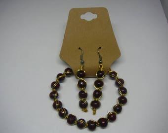 Wooden bracelet, earrings set, wood beads, Wooden earrings, beaded earrings, beaded bracelet, wirewrapped, wire work, bracelet and earrings