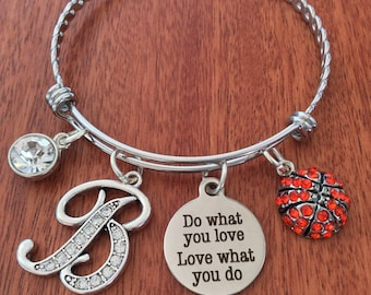 BASKETBALL Jewelry, Basketball Bracelet, Basketball Gifts, Team Gifts, Do What You Love Gifts, Personalized Basketball Gift, Sports Initial