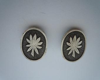 Vintage Mexico Sterling Silver Clip Earrings Hemp Marijuana Cannabis Leaf Design
