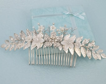 Fair Lady - Mother Pearl Flower, Rhinestone Flower,Freshwater pearl and Crystal Bridal Comb