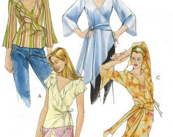 Full Figure Womens Wrap Tops or Tunics and Sash Handkerchief Hemline OOP McCalls Sewing Pattern M4779 Size 16 18 20 22 Bust 38 40 42 44 FF