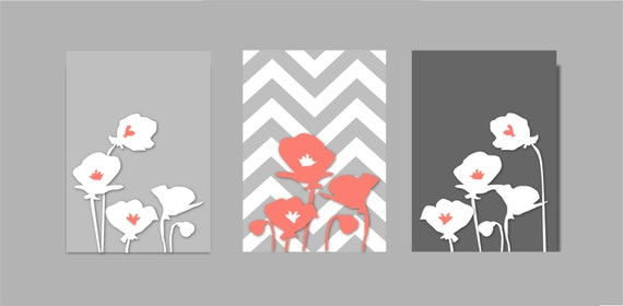 items similar to coral and gray bathroom coral and grey botanical prints art poppy flowers. Black Bedroom Furniture Sets. Home Design Ideas