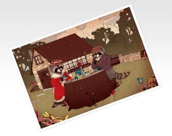 Raccoon Tea Party Print