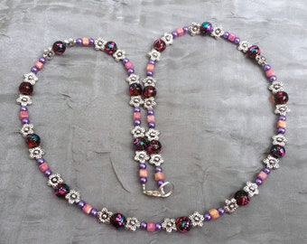 "Sparkling magenta and silver necklace, 25"" long, Sweet 16 gift, Floral Art Nouveau art glass matinee necklace, Handmade unique OOAK artisan"