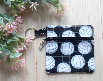 Volleyball Ear Bud Case - Ear Bud Holder - Earphone Case - Volleyball Coin Purse - Volleyball Player Gift - Key Chain- Volleyball Lover Gift