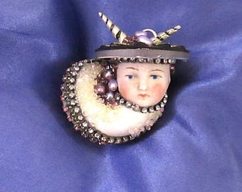 Porcelain and Gem Snail Assemblage Art / Ornament Mixed Media Doll