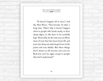 Velveteen Rabbit Print, Quote, Typography, Becoming Real, children's literature