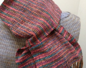 Handwoven scarf in rayon chenille painted desert