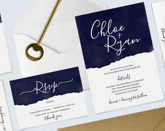 Navy Watercolour Wedding Bundle, Invitation and RSVP Pack, Minimal, Calligraphy Invitation