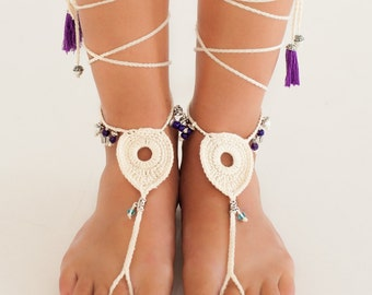 Amethyst Foot Jewelry Ivory Peacock Beads Crochet Barefoot Sandals Hippie Festival Wear Bohemian Indian Anklet Destination wedding shoes