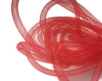 3.2 yards/3m Red Mesh Tube, Plastic Net Thread Cord, Nylon Mesh Tubing, Jewellery Making S 40 164 4mm