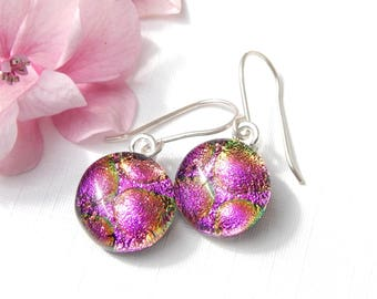 Vibrant Pink Dichroic Glass Dangle Earrings, Fused Glass Jewellery, Round Pink Art Glass Drop Earrings, Girlfriend Gift, Mom Gift