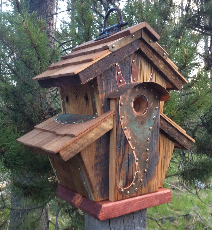 Unique Bird Houses Designs: Unique Barnwood Birdhouse Abbey Copper Design Birthday Wedding