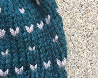Knit Fair Isle Hat / Knit Slouchy Beanie/ Ribbed Knitted Heart Toque / Handmade Winter Hat