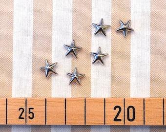 6 set star studs silver 1 cm