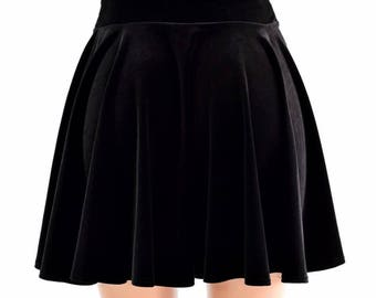 "19"" Long Black Stretch Velvet Skater Skirt Full Circle Stretchy Plush -154516"