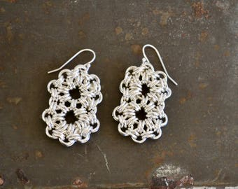 Silver Chainmaille Earrings - Double Circle Earrings - Flower Design Chainmaille - Sterling Plated Earrings - By BALOOS STUDIO