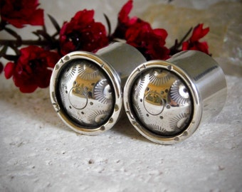 Concho >>> Sterling Silver Gauge Earrings